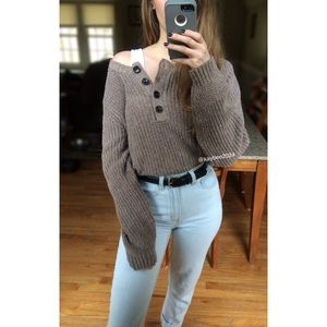 🌿 Vtg Natural Taupe Henley Knit Sweater 🌿